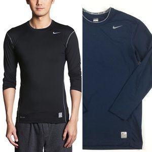 NIKE Men's Pro Core Compression L/S Top Navy Blue